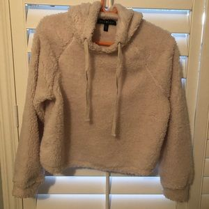 Cropped faux shearling hoodie. New w/o tags.